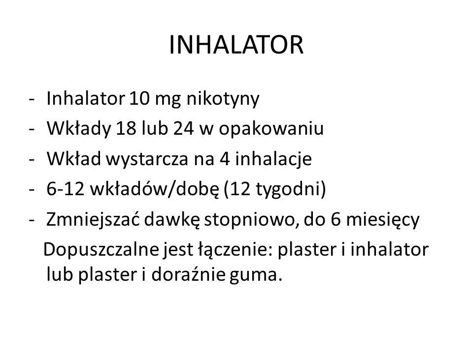 INHALATOR -Inhalator 10 mg nikotyny -Wkłady 18 lub 24 w opakowaniu -Wkład wystarcza na 4 inhalacje -6-12 wkładów/dobę (12 tygodni) -Zmniejszać dawkę stopniowo, do 6 miesięcy Dopuszczalne jest łączenie: plaster i inhalator lub plaster i doraźnie guma.