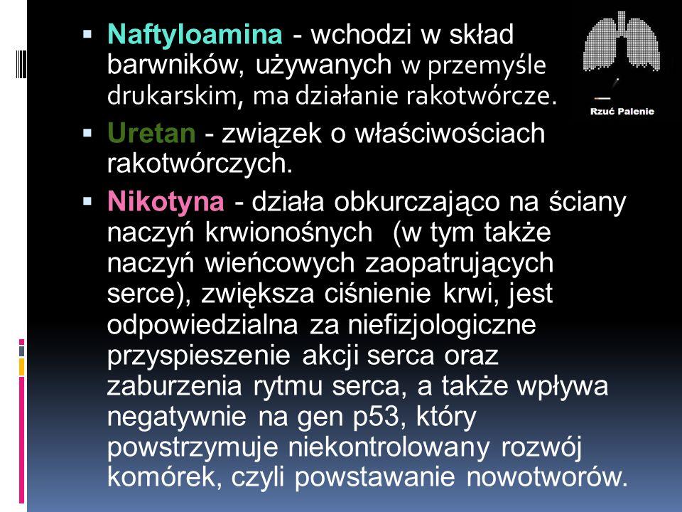 Naftyloamina - wchodzi w skład barwników, używanych w przemyśle drukarskim, ma działanie rakotwórcze.  Uretan - związek o właściwościach rakotwórcz