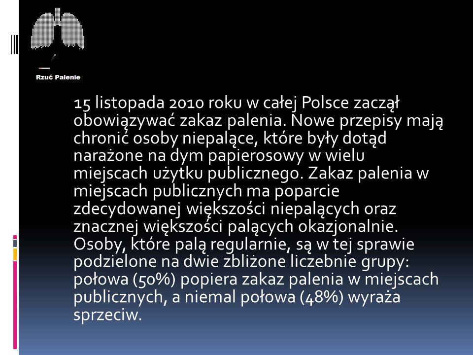 15 listopada 2010 roku w całej Polsce zaczął obowiązywać zakaz palenia. Nowe przepisy mają chronić osoby niepalące, które były dotąd narażone na dym p