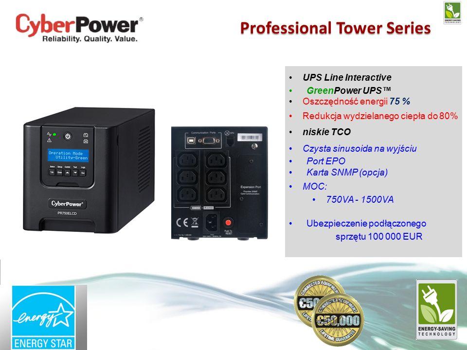 UPS Line Interactive GreenPower UPS™ Oszczędność energii 75 % Redukcja wydzielanego ciepła do 80% niskie TCO Czysta sinusoida na wyjściu Port EPO Karta SNMP (opcja) MOC: 750VA - 1500VA Ubezpieczenie podłączonego sprzętu 100 000 EUR Professional Tower Series