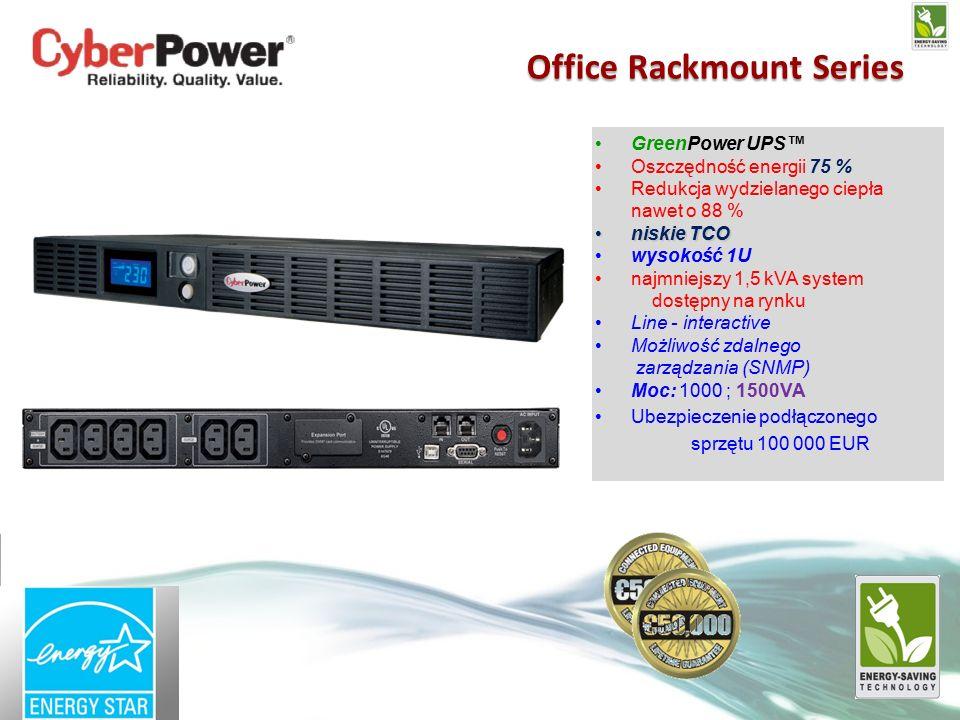 GreenPower UPS™ Oszczędność energii 75 % Redukcja wydzielanego ciepła nawet o 88 % niskie TCOniskie TCO wysokość 1U najmniejszy 1,5 kVA system dostępny na rynku Line - interactive Możliwość zdalnego zarządzania (SNMP) Moc: 1000 ; 1500VA Ubezpieczenie podłączonego sprzętu 100 000 EUR Office Rackmount Series