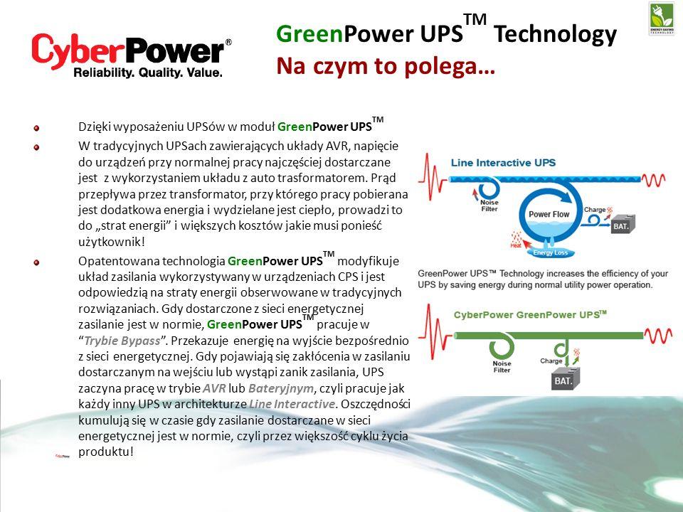 Dzięki wyposażeniu UPSów w moduł GreenPower UPS TM W tradycyjnych UPSach zawierających układy AVR, napięcie do urządzeń przy normalnej pracy najczęściej dostarczane jest z wykorzystaniem układu z auto trasformatorem.