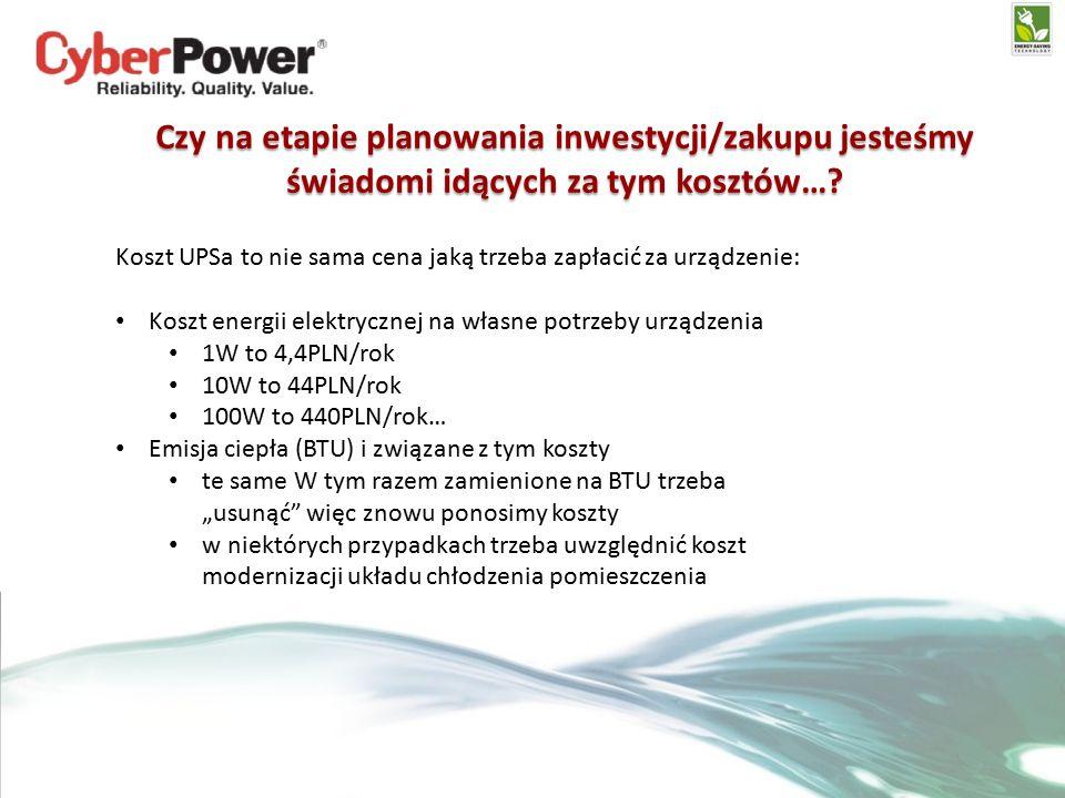 Czy na etapie planowania inwestycji/zakupu jesteśmy świadomi idących za tym kosztów….