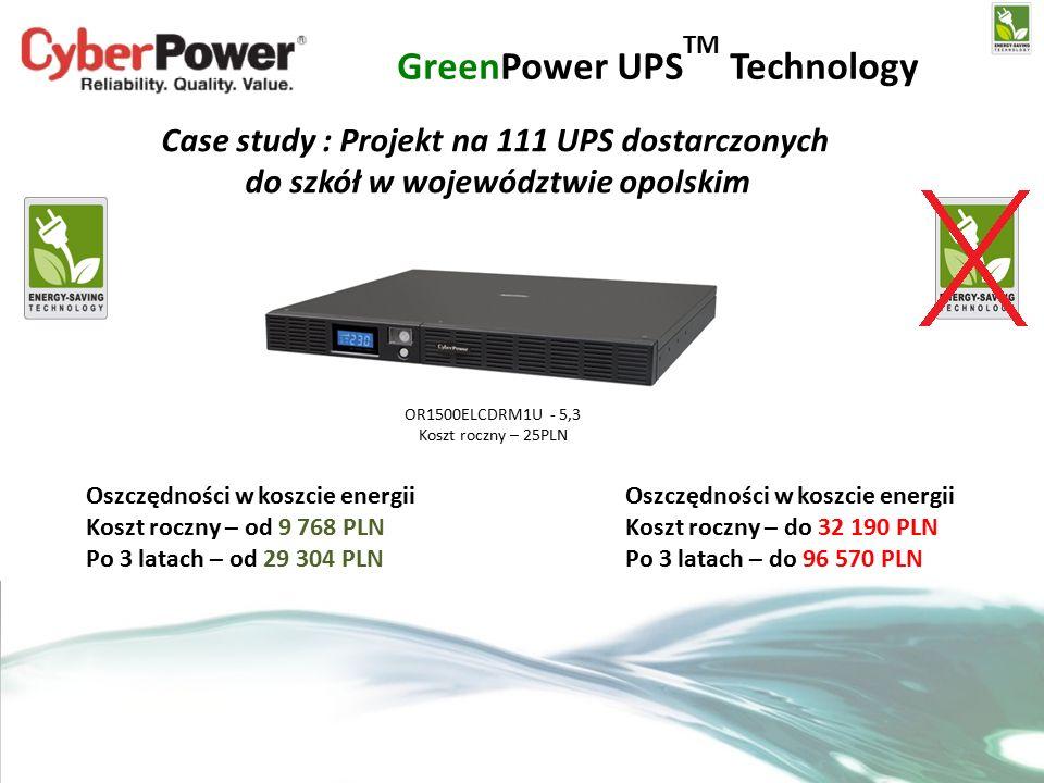 GreenPower UPS TM Technology Case study : Projekt na 111 UPS dostarczonych do szkół w województwie opolskim OR1500ELCDRM1U - 5,3 Koszt roczny – 25PLN Oszczędności w koszcie energii Koszt roczny – od 9 768 PLN Po 3 latach – od 29 304 PLN Oszczędności w koszcie energii Koszt roczny – do 32 190 PLN Po 3 latach – do 96 570 PLN