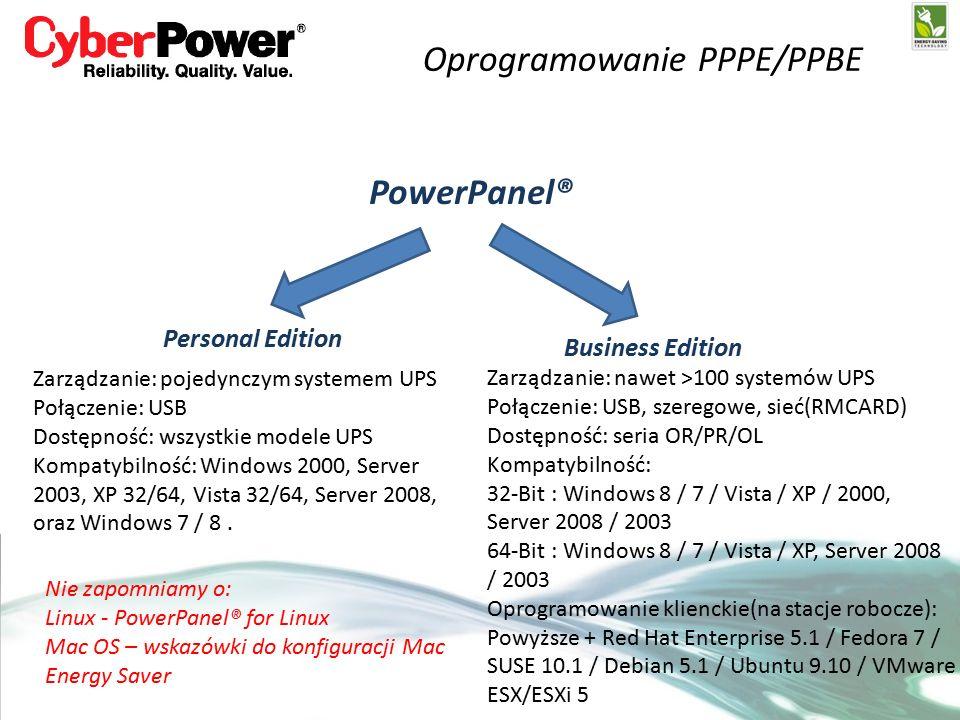 Oprogramowanie PPPE/PPBE PowerPanel® Personal Edition Business Edition Zarządzanie: pojedynczym systemem UPS Połączenie: USB Dostępność: wszystkie modele UPS Kompatybilność: Windows 2000, Server 2003, XP 32/64, Vista 32/64, Server 2008, oraz Windows 7 / 8.