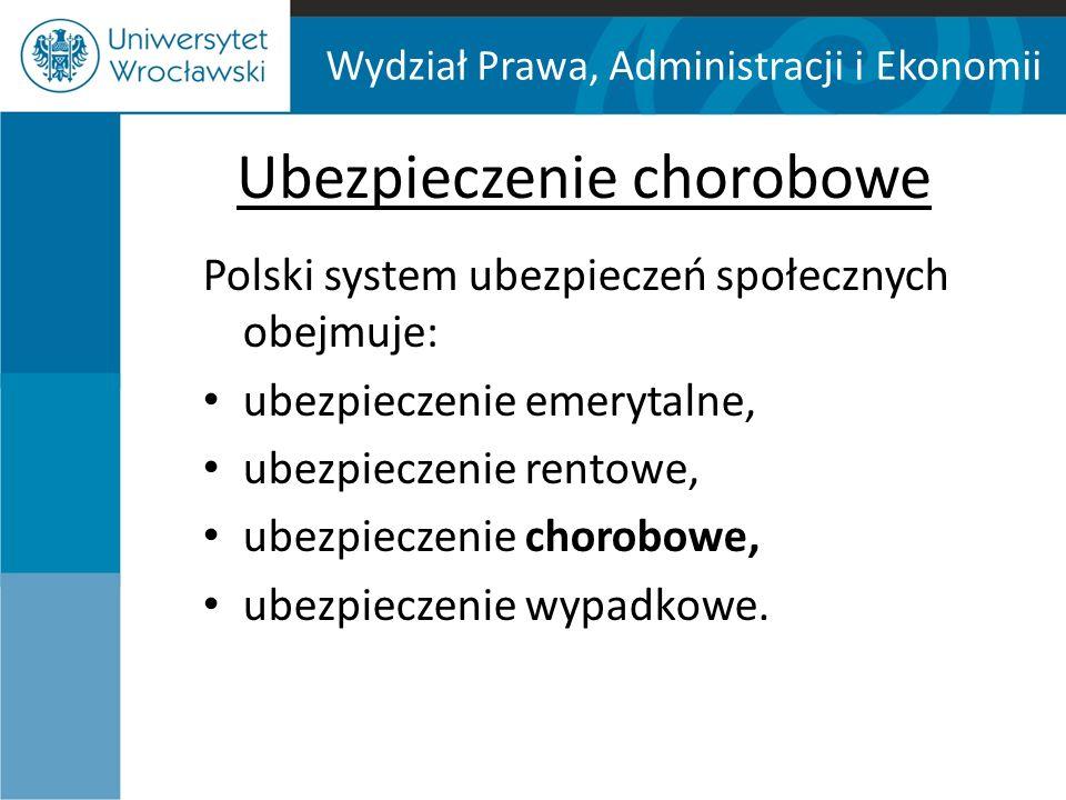 Wydział Prawa, Administracji i Ekonomii Ubezpieczenie chorobowe Polski system ubezpieczeń społecznych obejmuje: ubezpieczenie emerytalne, ubezpieczenie rentowe, ubezpieczenie chorobowe, ubezpieczenie wypadkowe.