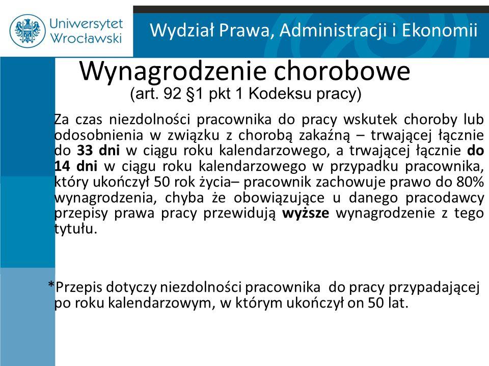 Wydział Prawa, Administracji i Ekonomii Wynagrodzenie chorobowe (art.