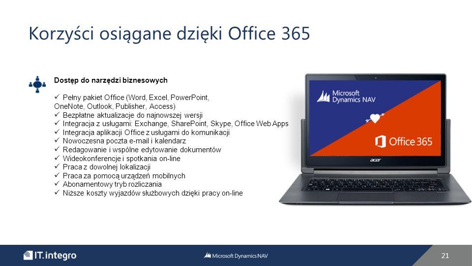 Korzyści osiągane dzięki Office 365 21 Dostęp do narzędzi biznesowych Pełny pakiet Office (Word, Excel, PowerPoint, OneNote, Outlook, Publisher, Access) Bezpłatne aktualizacje do najnowszej wersji Integracja z usługami: Exchange, SharePoint, Skype, Office Web Apps Integracja aplikacji Office z usługami do komunikacji Nowoczesna poczta e-mail i kalendarz Redagowanie i wspólne edytowanie dokumentów Wideokonferencje i spotkania on-line Praca z dowolnej lokalizacji Praca za pomocą urządzeń mobilnych Abonamentowy tryb rozliczania Niższe koszty wyjazdów służbowych dzięki pracy on-line