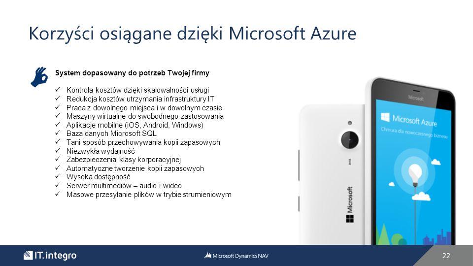 Korzyści osiągane dzięki Microsoft Azure 22 System dopasowany do potrzeb Twojej firmy Kontrola kosztów dzięki skalowalności usługi Redukcja kosztów utrzymania infrastruktury IT Praca z dowolnego miejsca i w dowolnym czasie Maszyny wirtualne do swobodnego zastosowania Aplikacje mobilne (iOS, Android, Windows) Baza danych Microsoft SQL Tani sposób przechowywania kopii zapasowych Niezwykła wydajność Zabezpieczenia klasy korporacyjnej Automatyczne tworzenie kopii zapasowych Wysoka dostępność Serwer multimediów – audio i wideo Masowe przesyłanie plików w trybie strumieniowym