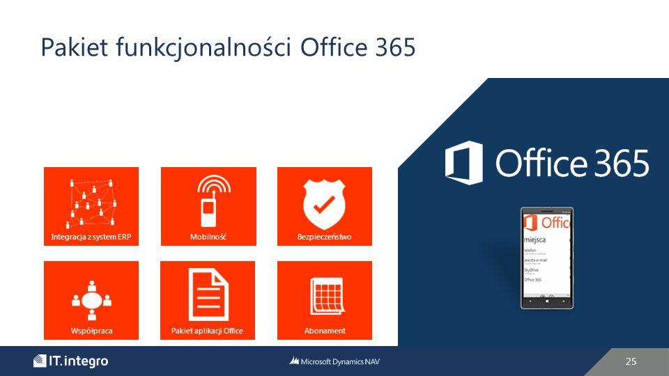 25 Pakiet funkcjonalności Office 365 Integracja z system ERPMobilnośćBezpieczeństwo WspółpracaAbonamentPakiet aplikacji Office
