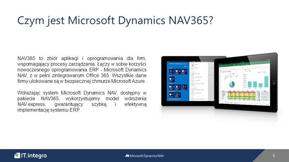 Kluczowe elementy NAV365 6 Microsoft Dynamics NAV Oprogramowanie ERP, z którego korzysta ponad 100 000 firm na całym świecie.