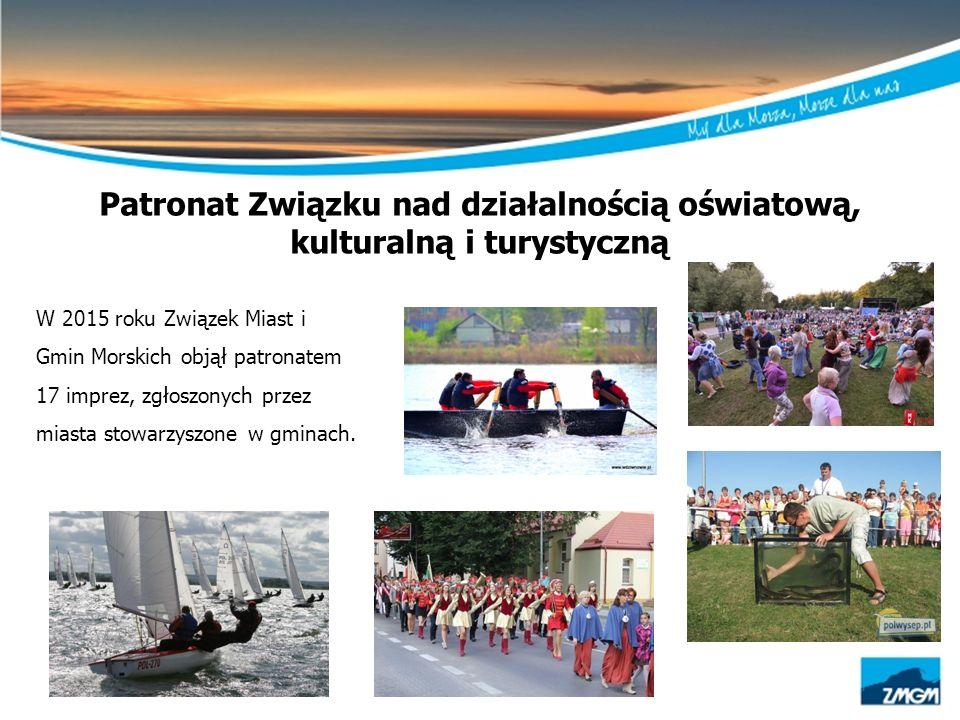Patronat Związku nad działalnością oświatową, kulturalną i turystyczną W 2015 roku Związek Miast i Gmin Morskich objął patronatem 17 imprez, zgłoszony