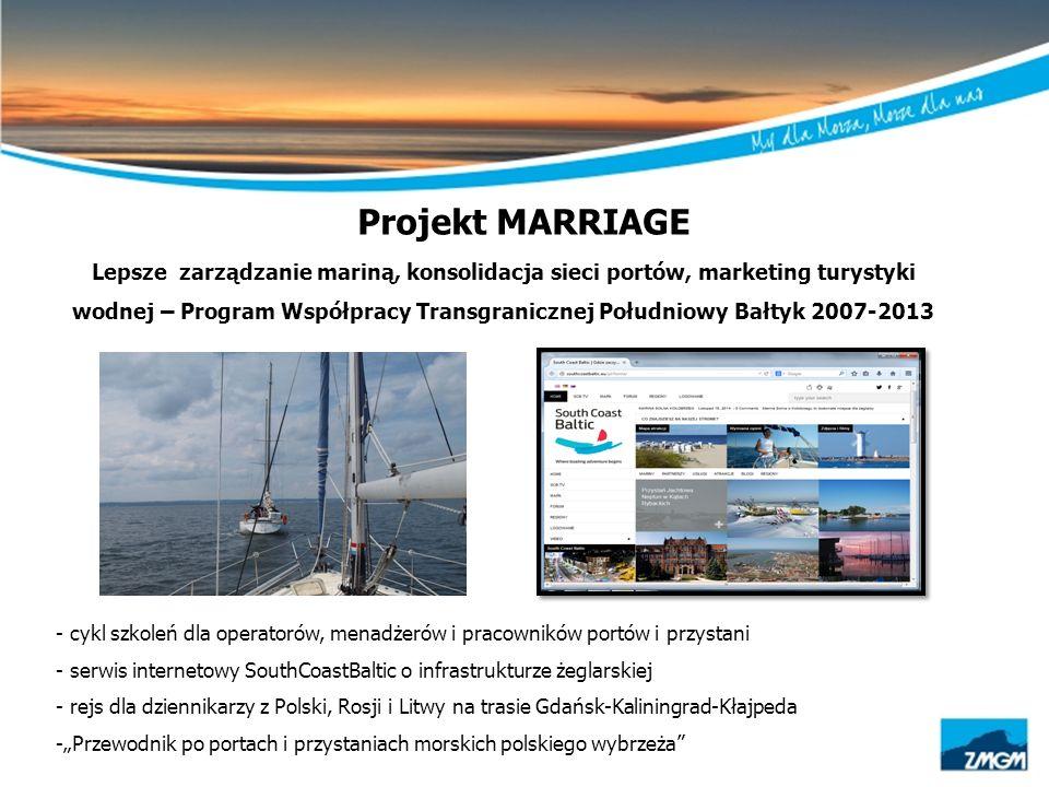 Projekt MARRIAGE Lepsze zarządzanie mariną, konsolidacja sieci portów, marketing turystyki wodnej – Program Współpracy Transgranicznej Południowy Bałt