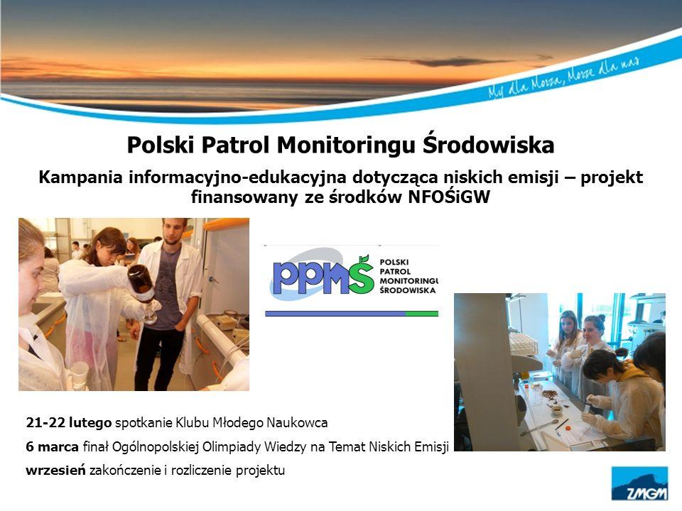 Polski Patrol Monitoringu Środowiska Kampania informacyjno-edukacyjna dotycząca niskich emisji – projekt finansowany ze środków NFOŚiGW 21-22 lutego s