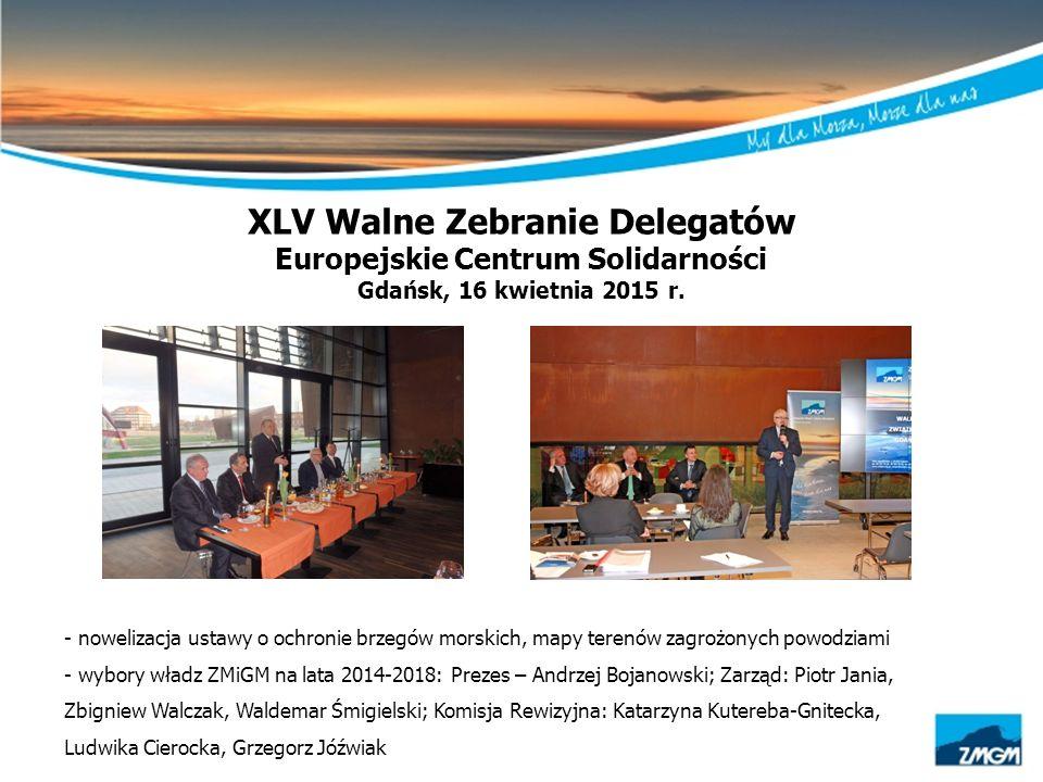 XLV Walne Zebranie Delegatów Europejskie Centrum Solidarności Gdańsk, 16 kwietnia 2015 r. - nowelizacja ustawy o ochronie brzegów morskich, mapy teren