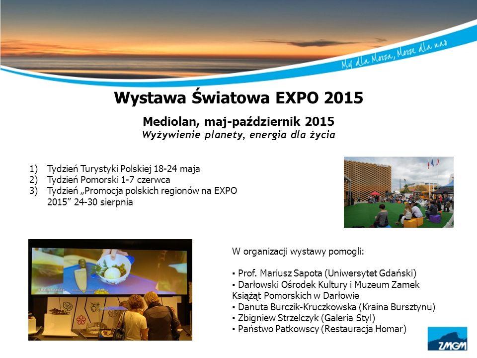 Wystawa Światowa EXPO 2015 Mediolan, maj-październik 2015 Wyżywienie planety, energia dla życia 1)Tydzień Turystyki Polskiej 18-24 maja 2)Tydzień Pomo