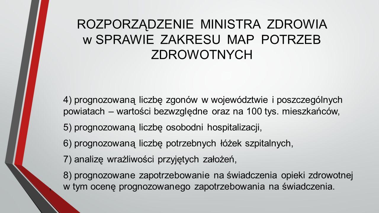 ROZPORZĄDZENIE MINISTRA ZDROWIA w SPRAWIE ZAKRESU MAP POTRZEB ZDROWOTNYCH 4) prognozowaną liczbę zgonów w województwie i poszczególnych powiatach – wartości bezwzględne oraz na 100 tys.