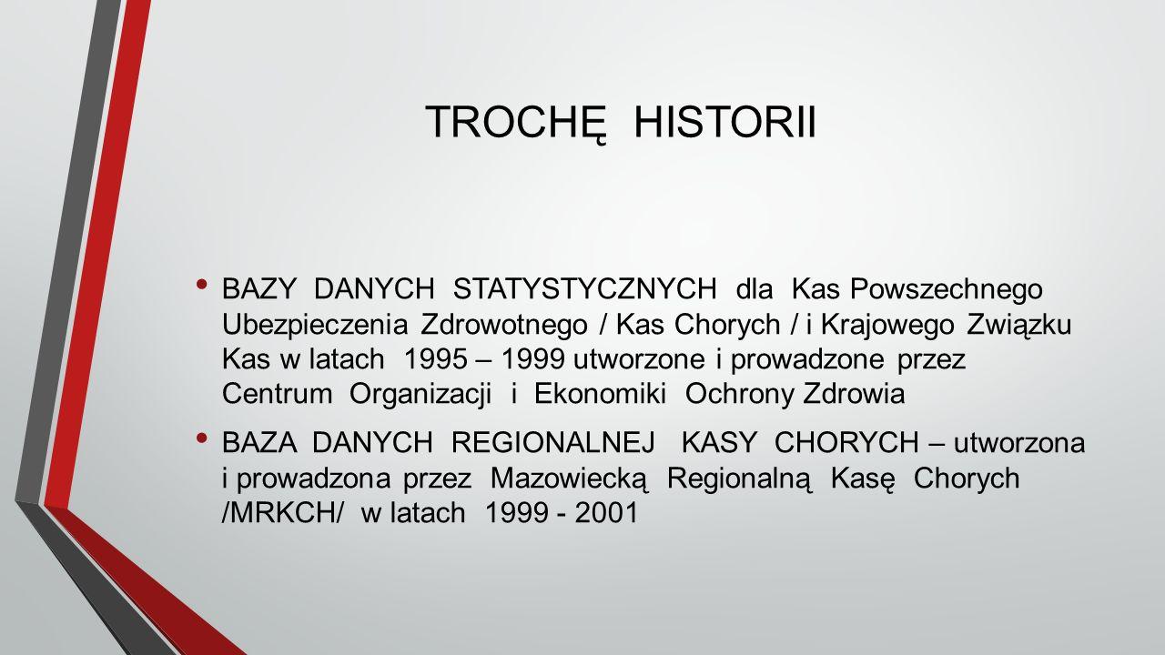 TROCHĘ HISTORII BAZY DANYCH STATYSTYCZNYCH dla Kas Powszechnego Ubezpieczenia Zdrowotnego / Kas Chorych / i Krajowego Związku Kas w latach 1995 – 1999 utworzone i prowadzone przez Centrum Organizacji i Ekonomiki Ochrony Zdrowia BAZA DANYCH REGIONALNEJ KASY CHORYCH – utworzona i prowadzona przez Mazowiecką Regionalną Kasę Chorych /MRKCH/ w latach 1999 - 2001