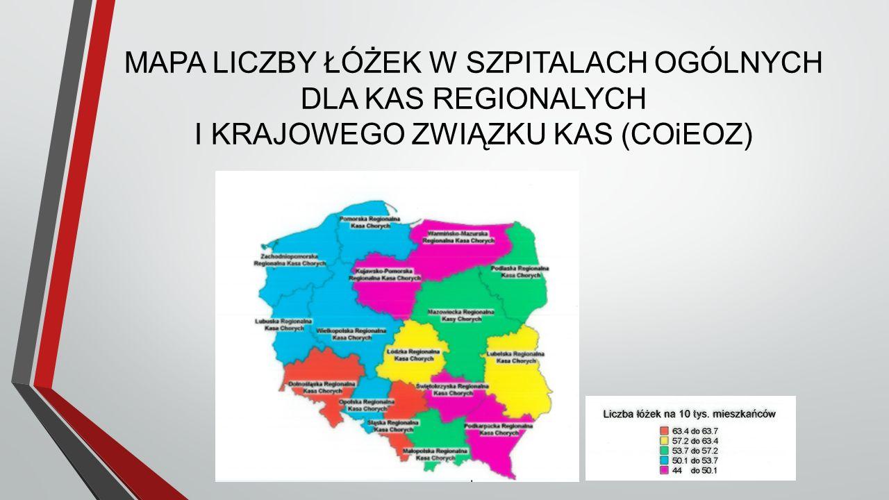 MAPA LICZBY ŁÓŻEK W SZPITALACH OGÓLNYCH DLA KAS REGIONALYCH I KRAJOWEGO ZWIĄZKU KAS (COiEOZ)