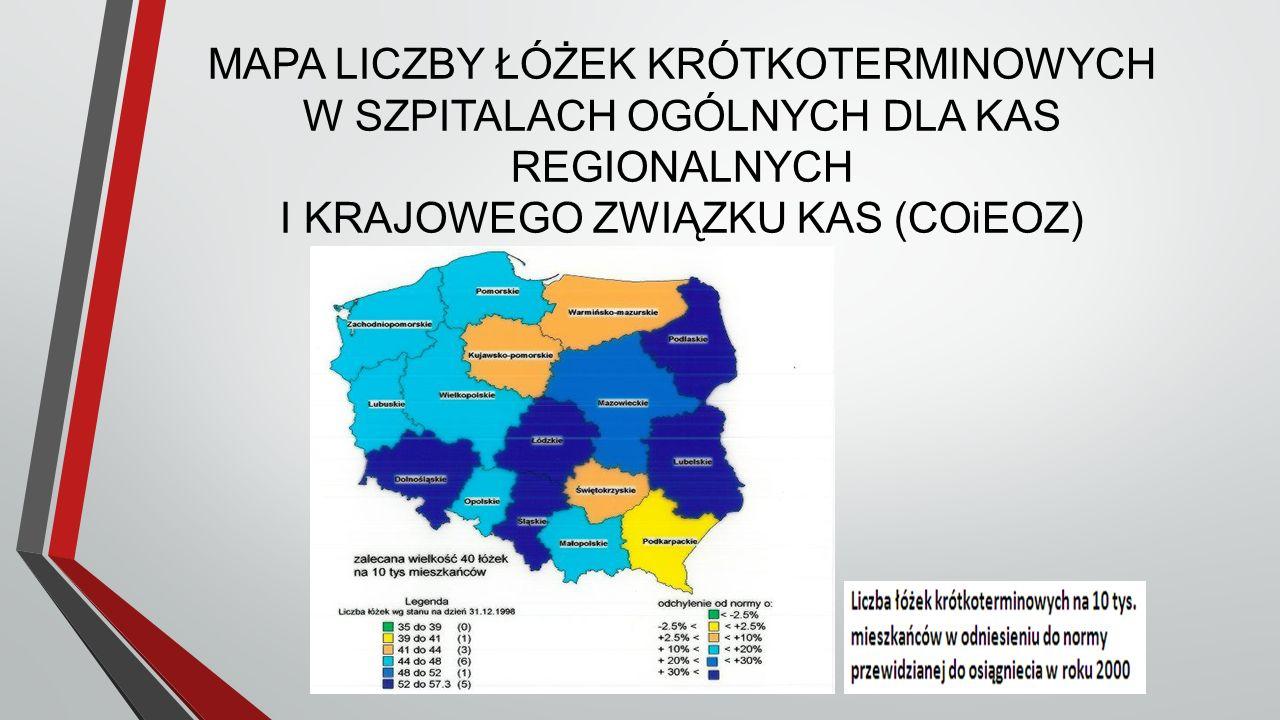 MAPA LICZBY ŁÓŻEK KRÓTKOTERMINOWYCH W SZPITALACH OGÓLNYCH DLA KAS REGIONALNYCH I KRAJOWEGO ZWIĄZKU KAS (COiEOZ)