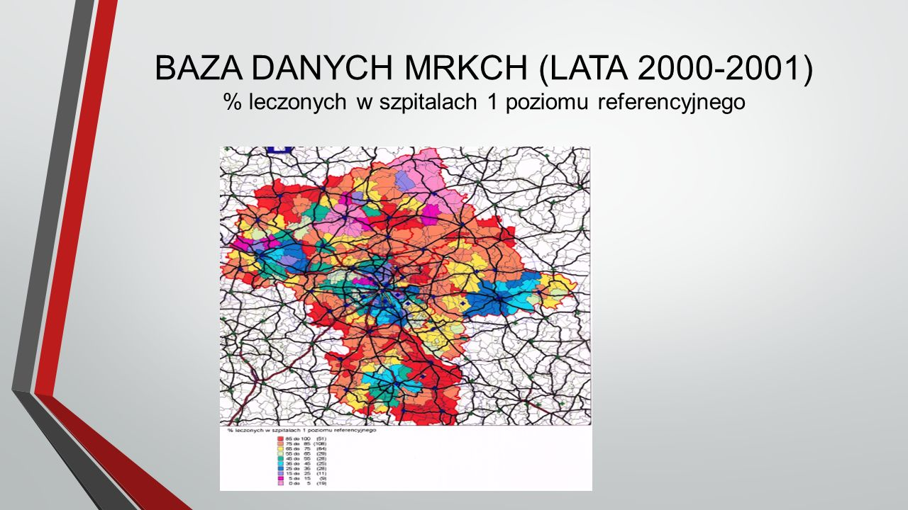 BAZA DANYCH MRKCH (LATA 2000-2001) % leczonych w szpitalach 1 poziomu referencyjnego