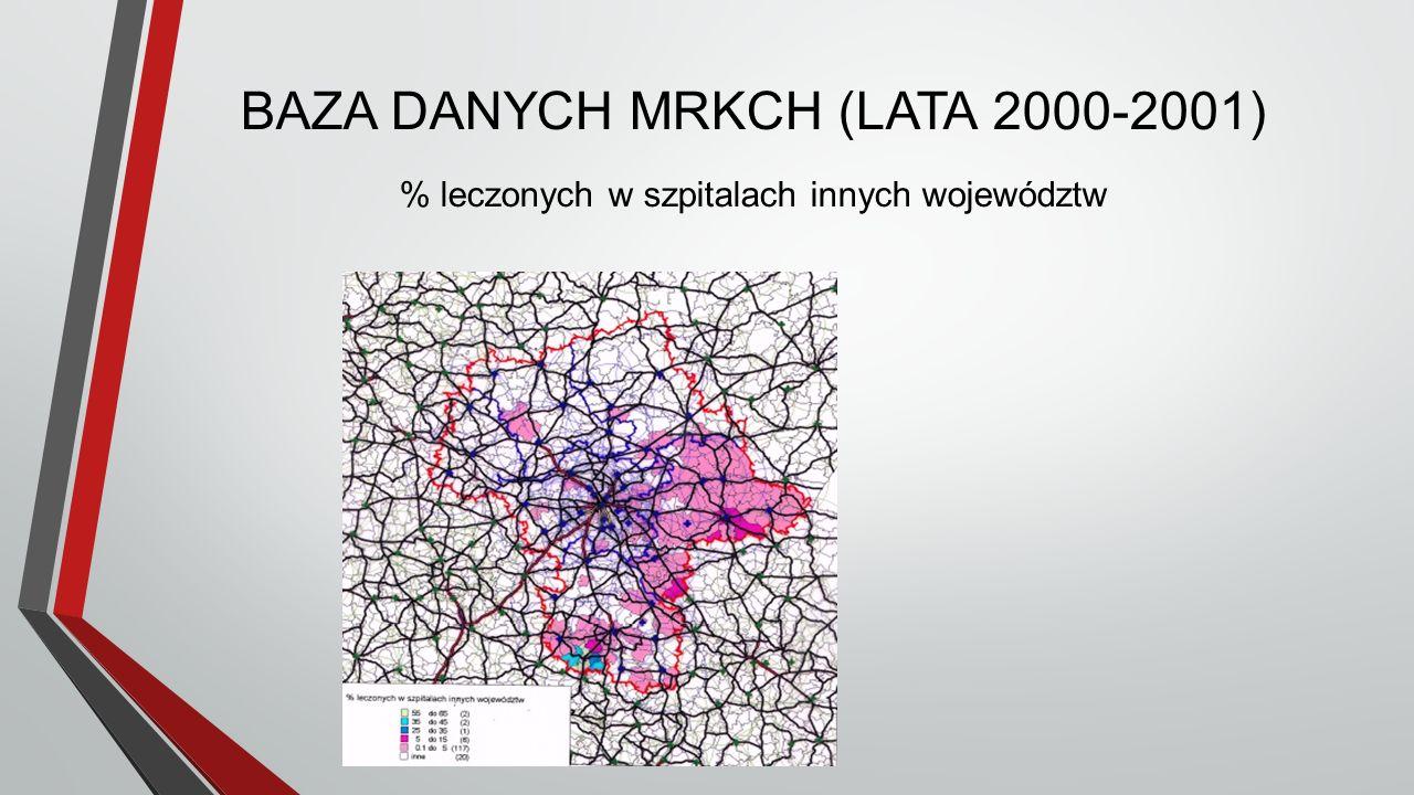 BAZA DANYCH MRKCH (LATA 2000-2001) % leczonych w szpitalach innych województw