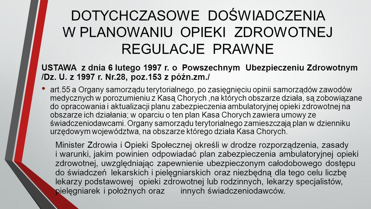 DOTYCHCZASOWE DOŚWIADCZENIA W PLANOWANIU OPIEKI ZDROWOTNEJ REGULACJE PRAWNE USTAWA z dnia 6 lutego 1997 r.