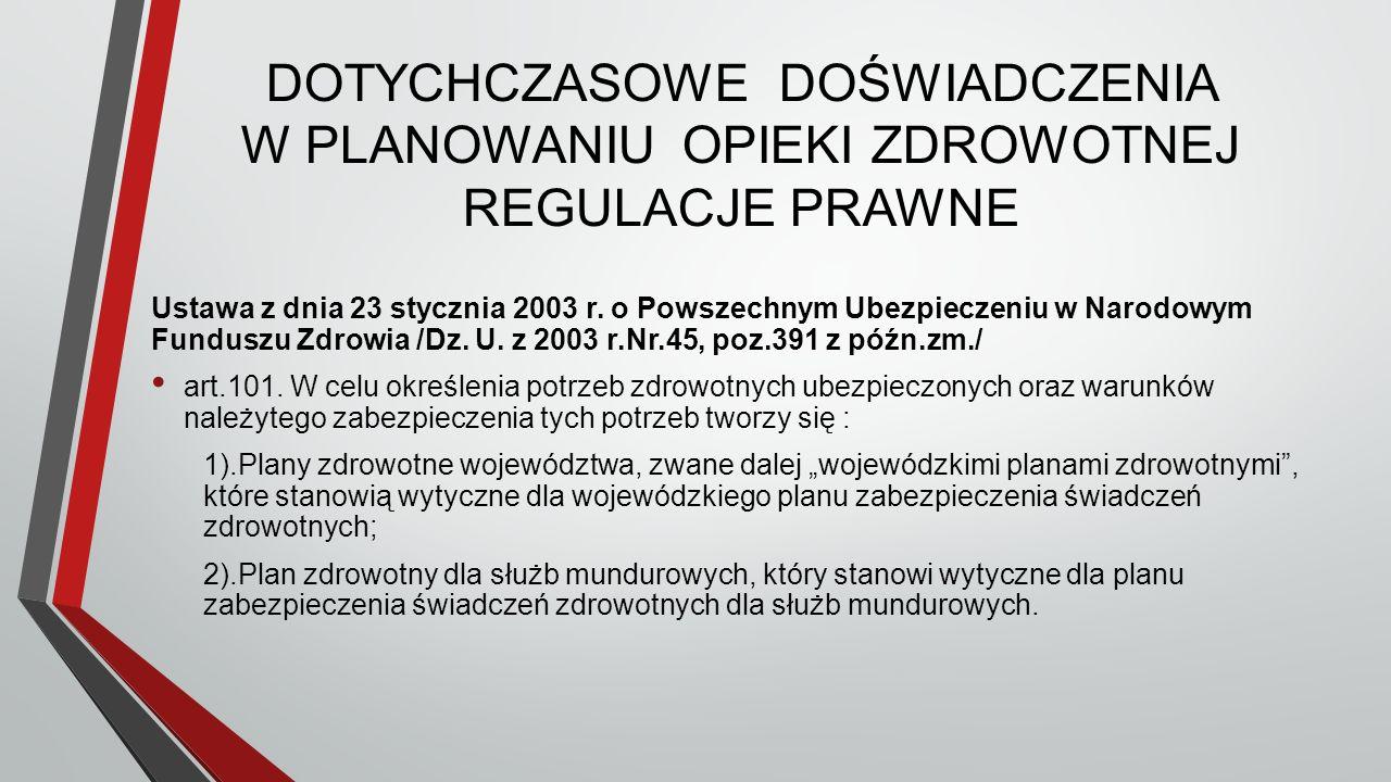 DOTYCHCZASOWE DOŚWIADCZENIA W PLANOWANIU OPIEKI ZDROWOTNEJ REGULACJE PRAWNE Ustawa z dnia 23 stycznia 2003 r.