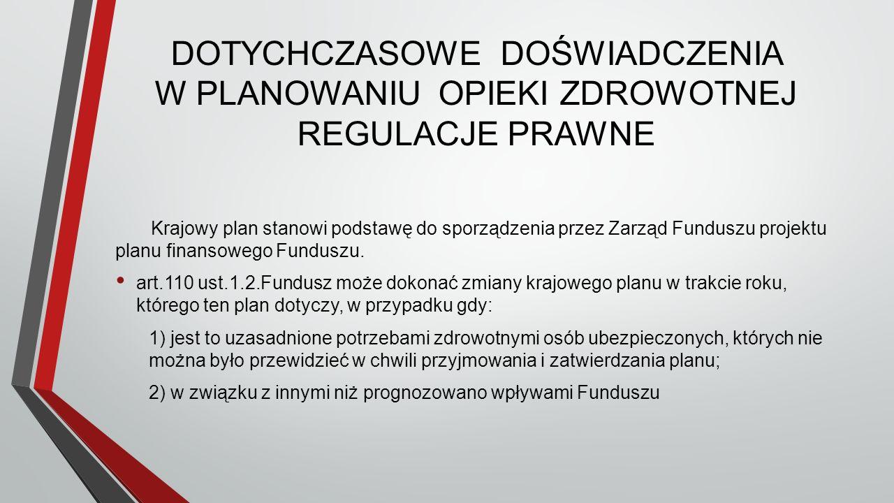 DOTYCHCZASOWE DOŚWIADCZENIA W PLANOWANIU OPIEKI ZDROWOTNEJ REGULACJE PRAWNE Krajowy plan stanowi podstawę do sporządzenia przez Zarząd Funduszu projektu planu finansowego Funduszu.