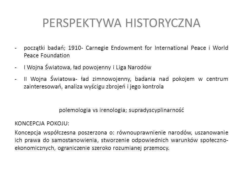 PERSPEKTYWA HISTORYCZNA -początki badań; 1910- Carnegie Endowment for International Peace i World Peace Foundation -I Wojna Światowa, ład powojenny i Liga Narodów -II Wojna Światowa- ład zimnowojenny, badania nad pokojem w centrum zainteresowań, analiza wyścigu zbrojeń i jego kontrola polemologia vs irenologia; supradyscyplinarność KONCEPCJA POKOJU: Koncepcja współczesna poszerzona o: równouprawnienie narodów, uszanowanie ich prawa do samostanowienia, stworzenie odpowiednich warunków społeczno- ekonomicznych, ograniczenie szeroko rozumianej przemocy.