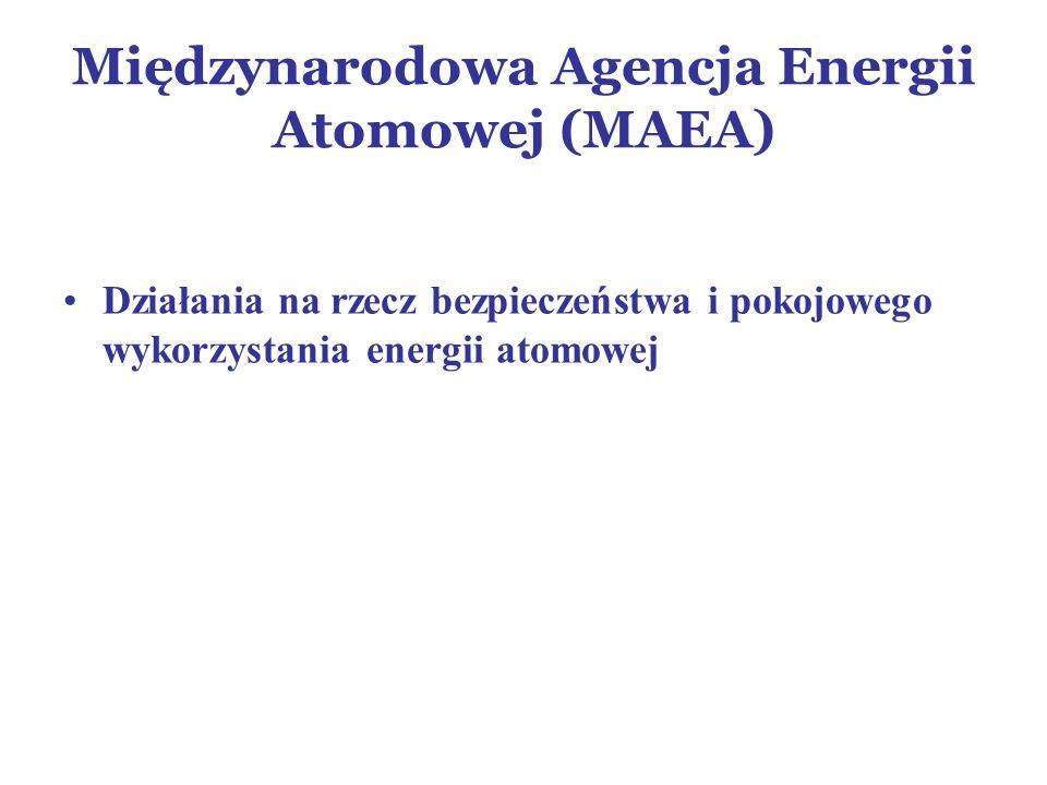 Międzynarodowa Agencja Energii Atomowej (MAEA) Działania na rzecz bezpieczeństwa i pokojowego wykorzystania energii atomowej