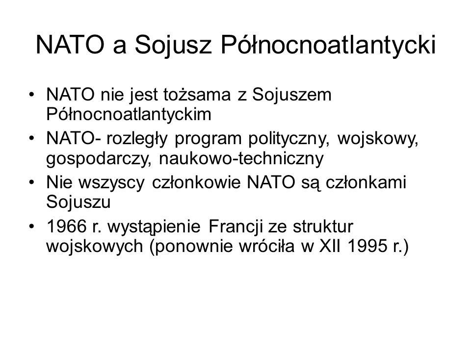 NATO a Sojusz Północnoatlantycki NATO nie jest tożsama z Sojuszem Północnoatlantyckim NATO- rozległy program polityczny, wojskowy, gospodarczy, naukowo-techniczny Nie wszyscy członkowie NATO są członkami Sojuszu 1966 r.