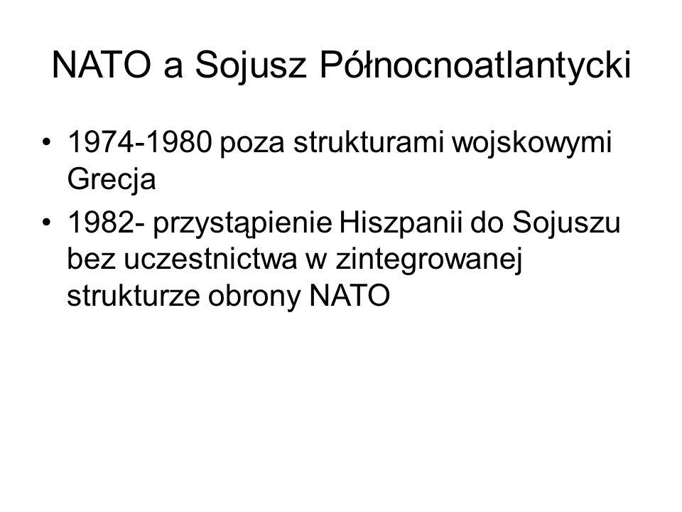NATO a Sojusz Północnoatlantycki 1974-1980 poza strukturami wojskowymi Grecja 1982- przystąpienie Hiszpanii do Sojuszu bez uczestnictwa w zintegrowanej strukturze obrony NATO