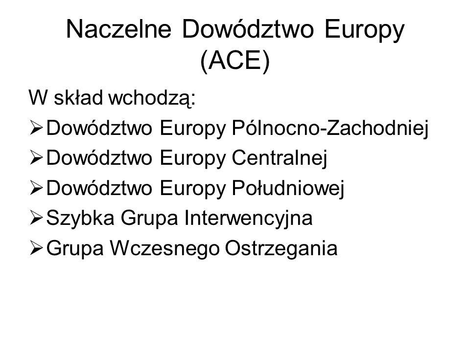 Naczelne Dowództwo Europy (ACE) W skład wchodzą:  Dowództwo Europy Pólnocno-Zachodniej  Dowództwo Europy Centralnej  Dowództwo Europy Południowej  Szybka Grupa Interwencyjna  Grupa Wczesnego Ostrzegania