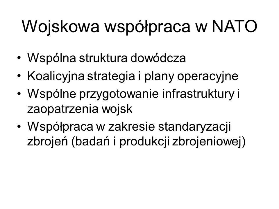 Wojskowa współpraca w NATO Wspólna struktura dowódcza Koalicyjna strategia i plany operacyjne Wspólne przygotowanie infrastruktury i zaopatrzenia wojsk Współpraca w zakresie standaryzacji zbrojeń (badań i produkcji zbrojeniowej)