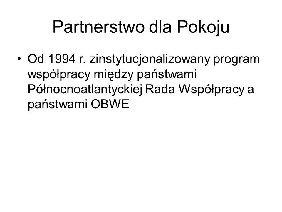 Partnerstwo dla Pokoju Od 1994 r.