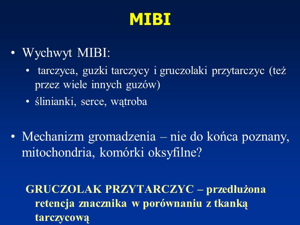 MIBI Wychwyt MIBI: tarczyca, guzki tarczycy i gruczolaki przytarczyc (też przez wiele innych guzów) ślinianki, serce, wątroba Mechanizm gromadzenia –