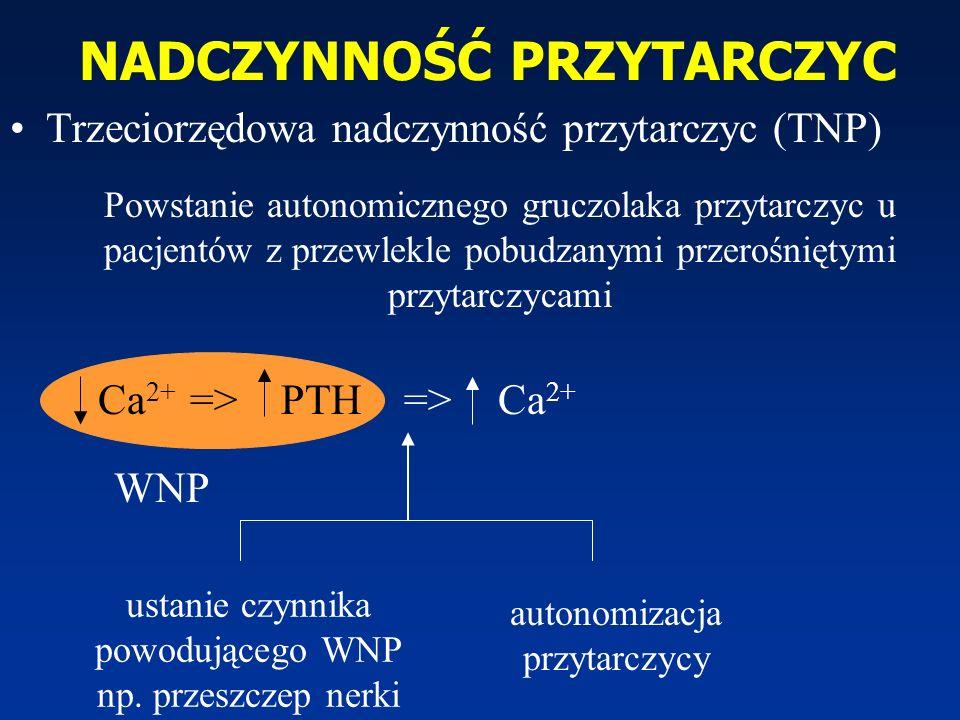 NADCZYNNOŚĆ PRZYTARCZYC Ca 2+ => PTH => Trzeciorzędowa nadczynność przytarczyc (TNP) WNP ustanie czynnika powodującego WNP np. przeszczep nerki autono