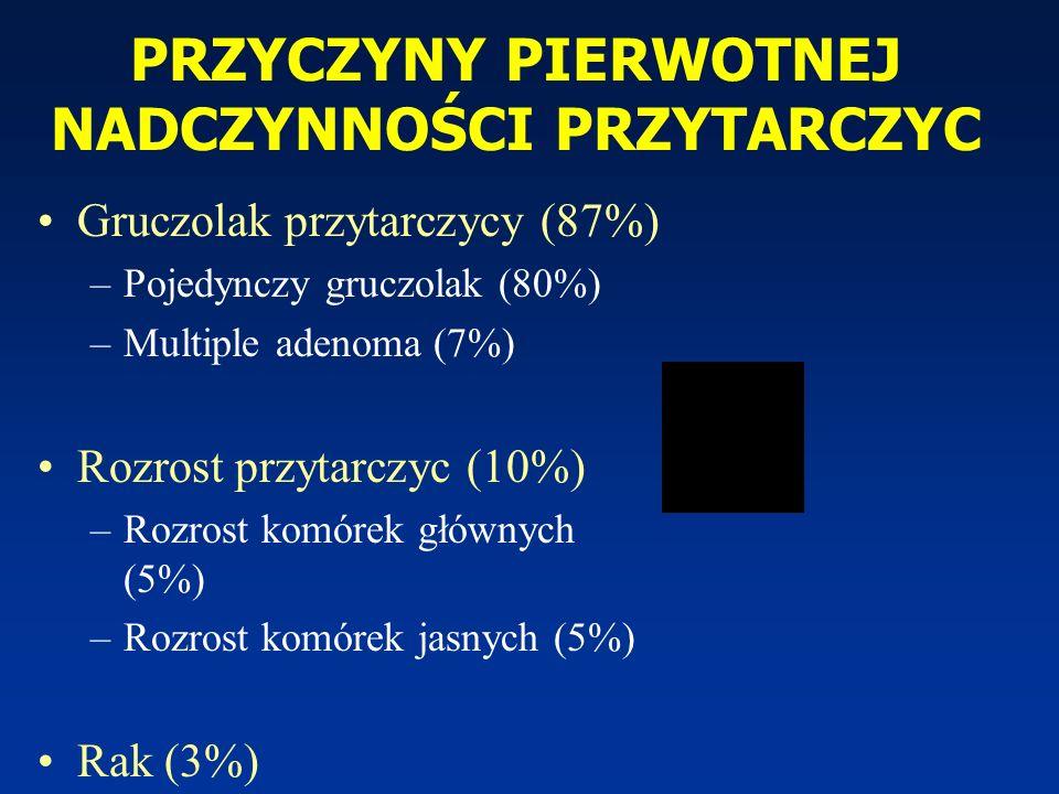 PRZYCZYNY PIERWOTNEJ NADCZYNNOŚCI PRZYTARCZYC Gruczolak przytarczycy (87%) –Pojedynczy gruczolak (80%) –Multiple adenoma (7%) Rozrost przytarczyc (10%