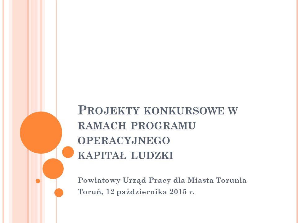 Powiatowy Urząd Pracy dla Miasta Torunia Toruń, 12 października 2015 r. P ROJEKTY KONKURSOWE W RAMACH PROGRAMU OPERACYJNEGO KAPITAŁ LUDZKI