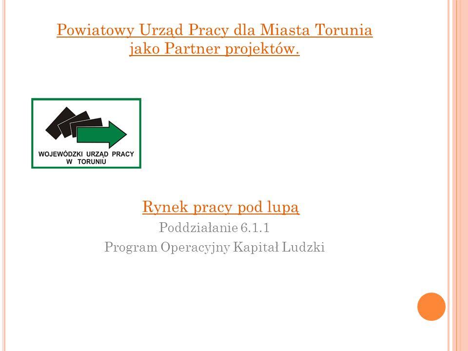 Powiatowy Urząd Pracy dla Miasta Torunia jako Partner projektów. Rynek pracy pod lupą Poddziałanie 6.1.1 Program Operacyjny Kapitał Ludzki