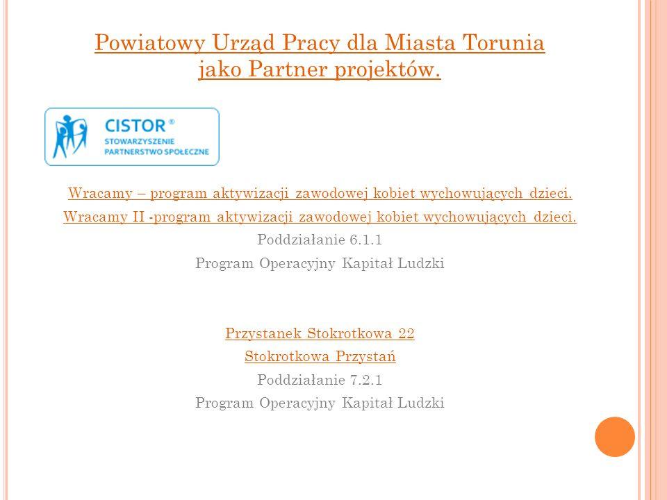 Powiatowy Urząd Pracy dla Miasta Torunia jako Partner projektów. Wracamy – program aktywizacji zawodowej kobiet wychowujących dzieci. Wracamy II -prog
