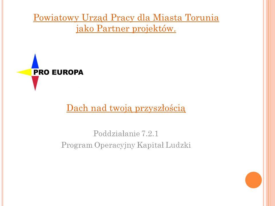 Powiatowy Urząd Pracy dla Miasta Torunia jako Partner projektów. Dach nad twoją przyszłością Poddziałanie 7.2.1 Program Operacyjny Kapitał Ludzki