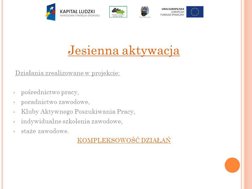 Jesienna aktywacja Działania zrealizowane w projekcie: pośrednictwo pracy, poradnictwo zawodowe, Kluby Aktywnego Poszukiwania Pracy, indywidualne szko