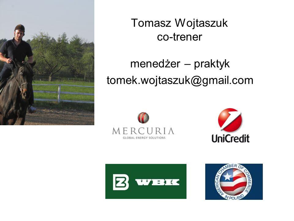 Tomasz Wojtaszuk co-trener menedżer – praktyk tomek.wojtaszuk@gmail.com