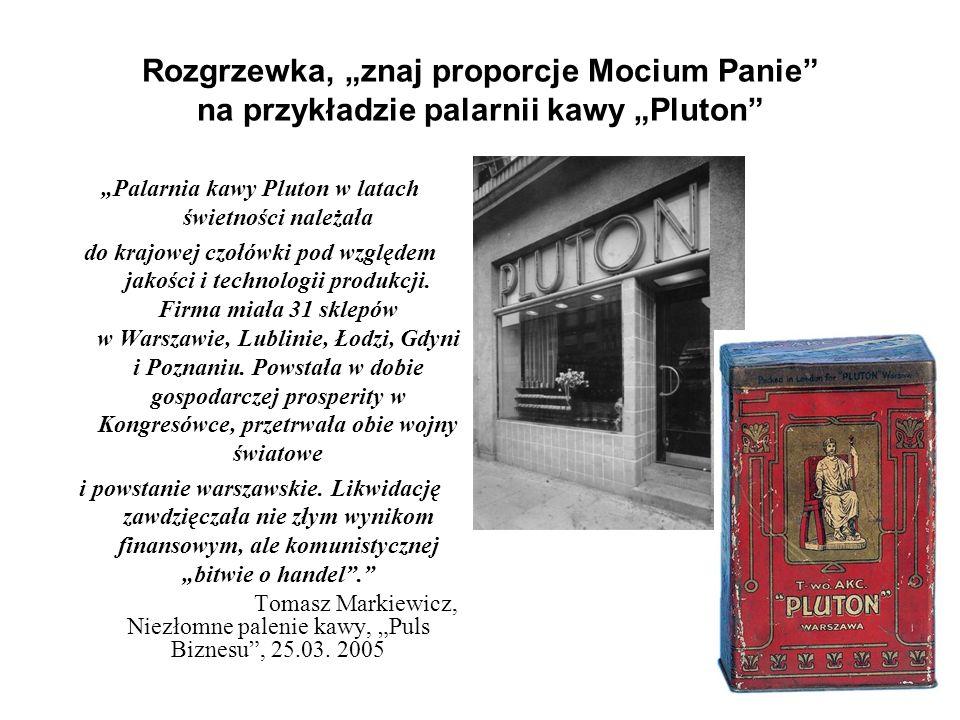 """Rozgrzewka, """"znaj proporcje Mocium Panie na przykładzie palarnii kawy """"Pluton """"Palarnia kawy Pluton w latach świetności należała do krajowej czołówki pod względem jakości i technologii produkcji."""