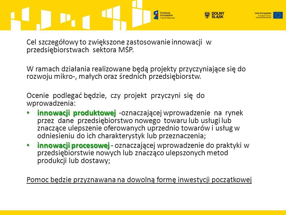 Cel szczegółowy to zwiększone zastosowanie innowacji w przedsiębiorstwach sektora MŚP.