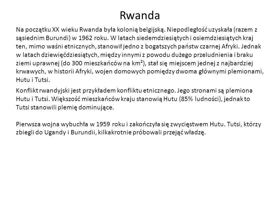 Rwanda Konflikt rwandyjski jest przykładem konfliktu etnicznego. Jego stronami są plemiona Hutu i Tutsi. Większość mieszkańców kraju stanowią Hutu (85