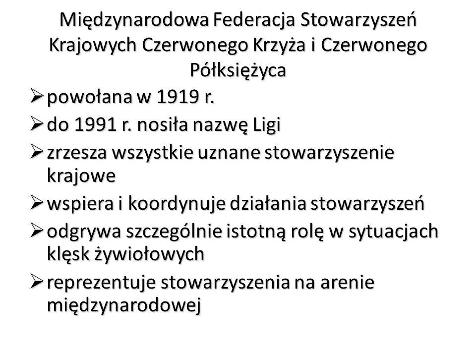 Międzynarodowa Federacja Stowarzyszeń Krajowych Czerwonego Krzyża i Czerwonego Półksiężyca  powołana w 1919 r.  do 1991 r. nosiła nazwę Ligi  zrzes
