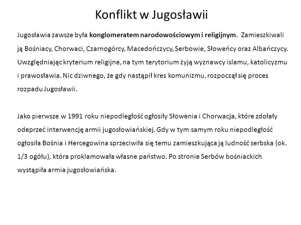 Konflikt w Jugosławii Jugosławia zawsze była konglomeratem narodowościowym i religijnym. Zamieszkiwali ją Bośniacy, Chorwaci, Czarnogórcy, Macedończyc